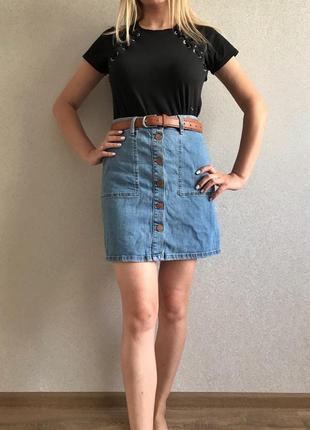 2786a5ffa4a7 Джинсовые юбки на пуговицах 2019 - купить недорого вещи в интернет ...