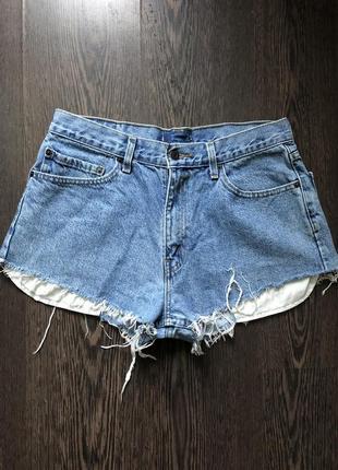 Голубые джинсовые шорты с необработанными краями