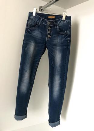 Синие голубые модные женские джинсы джеггинсы скины бойфренды на пуговицах с карманами
