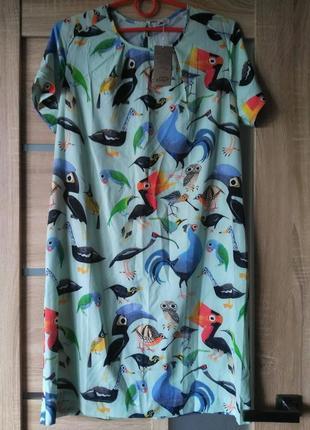 Летнее легкое платье в принт мятного цвета