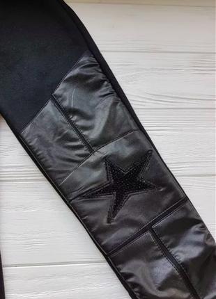 В наличии, кожа pu зимние черные со звездой лосины на меху р.120-1602 фото