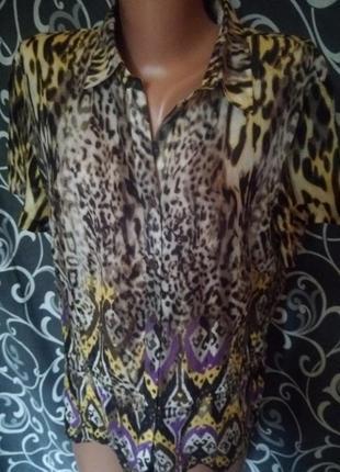 Лёгкая летняя рубашка в тигровый леопардовый принт вискоза