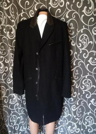 Шикарное пальто вставки из натуральной кожи тренд 55%шерсть  3%вискоза