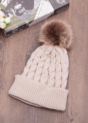 13-70 красива в'язана шапка з помпоном вязаная шапка
