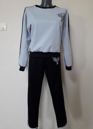 Стильный, молодежный модный костюм в стиле спорт шик:свитшот и брюки