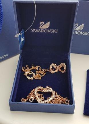 Набор swarovski (серьги, подвеска, браслет)