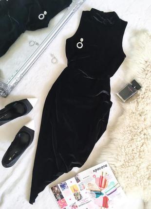 Полная ликвидация товара!потрясающее бархатное платье с драпировкой boohoo