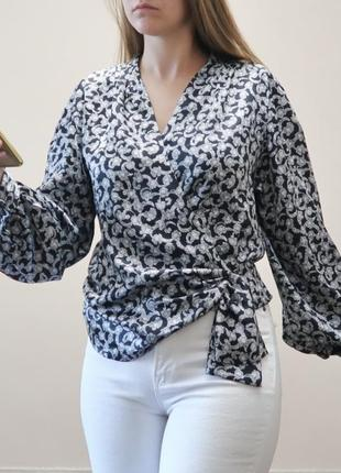 Винтажная блуза на запах с широкими рукавами windsmoor