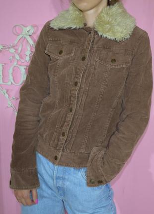 Шоколадная вельветовая куртка с отстегным мехом cherokee вельвет велюр