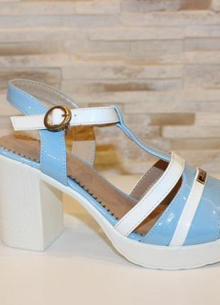 Босоножки женские голубые на каблуке б276