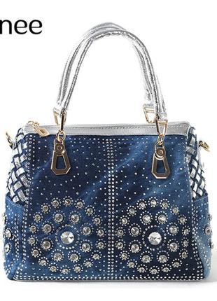 Сумка тоут женская джинсовая со стразами (синяя) сумочка из денима