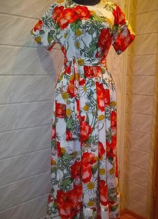 Летняя розпродажа!миди  платье в цветочный принт! размер универсальный!