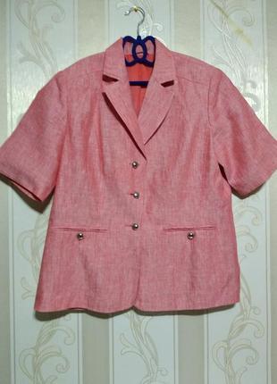 Пиджак коралловый, 100% лен.
