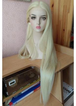 100 см! новый длинный прямой парик на сетке с пробором молочный блонд
