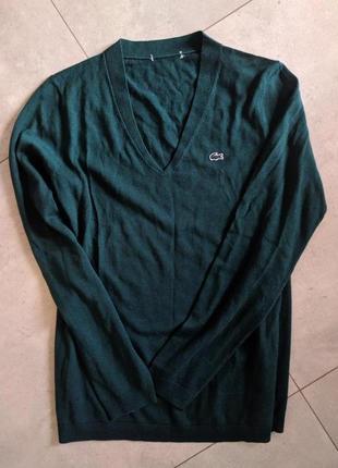 Свитер, кофта, lacoste, пуловер, оригинал, v-образный вырез