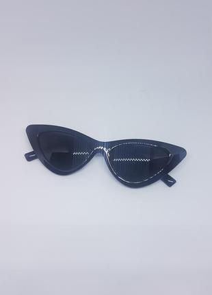 Солнцезащитные / имиджевые женские  очки кошачий глаз / лисички / ретро чёрные2 фото