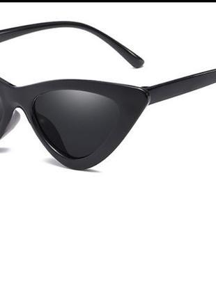 Солнцезащитные / имиджевые женские  очки кошачий глаз / лисички / ретро чёрные3 фото