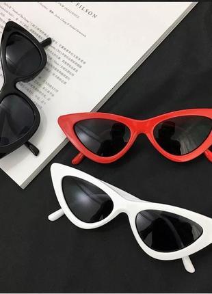 Солнцезащитные / имиджевые женские  очки кошачий глаз / лисички / ретро чёрные6 фото