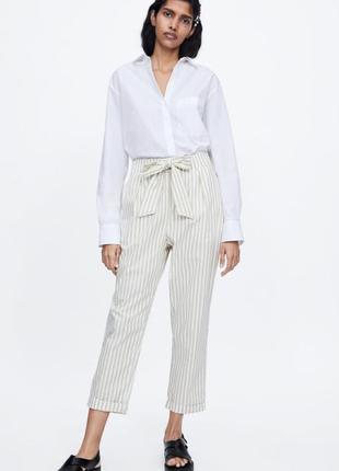 Стильные легкие брюки штаны в полоску zara