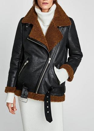 Дубленка куртка  на меху  zara woman