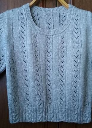 Вязаный укороченный пуловер с коротким рукавом серый {размер 36/s/44}