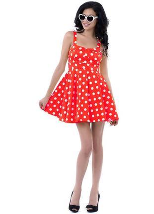 Платье в горошек солнце клеш на стройную девушку с рр ххс.