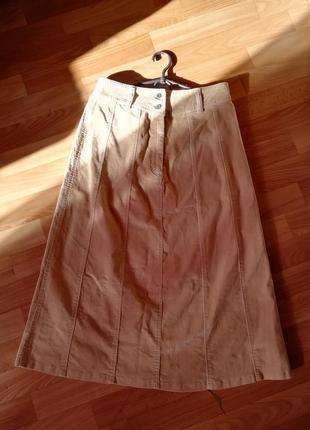 👑юбка миди а-силуэта песочного оттенка👑бежевая расклешенная юбка с накладными карманами