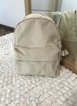 Вельветовый рюкзак, бежевый