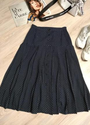 Стильная брэндовая юбка плиссе в горошек на пуговицах