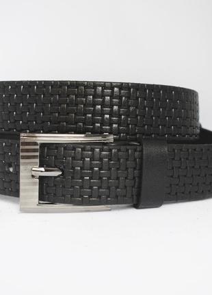 Avangard  ремень кожаный пояс кожанный детский подростковый черный со строчкой прошитый