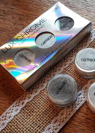 Втирка для ногтей catrice lux chrome nail power kit, пигмент для дизайна ногтей зеркальный