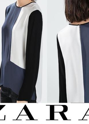Zara. интересная блуза сине черно белая. м-л