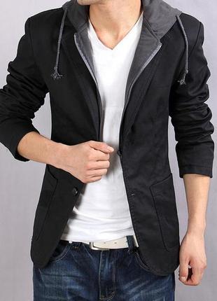 Мужской вельветовый пиджак с капюшоном xl
