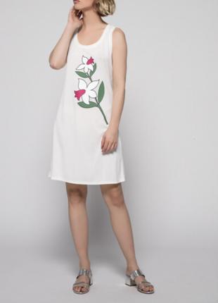 Новое, быстросохнущее платье туника twin-set р. xs-s принт: цветы