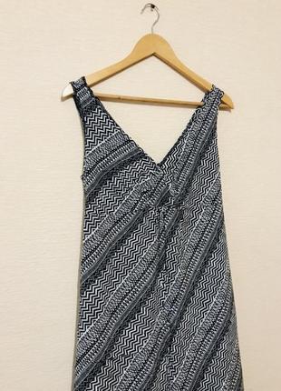 Легкое летнее платье сарафан в пол в геометрический принт
