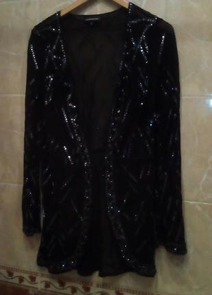 Шелковый пиджак- вечерняя накидка 40 вышитый со стразами