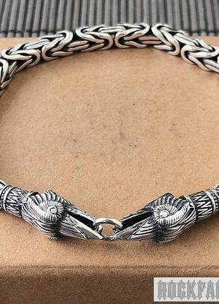 Серебряный мужской браслет с воронами, плетение лисий хвост византийское