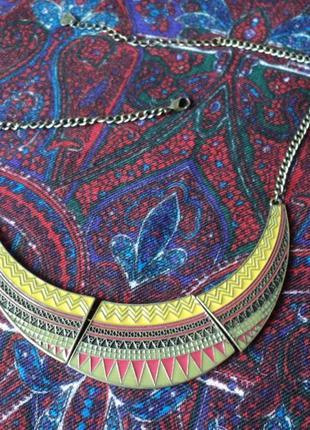 Ожерелье в этническом стиле, эмаль, этно, аксессуар на новый год, выпускной
