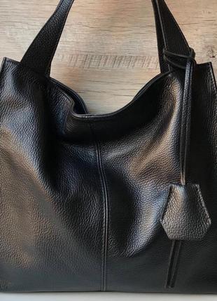 Женская кожаная сумка итальянская шопер жіноча жіноча шкіряна чорна велика