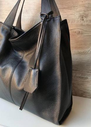 Женская кожаная сумка итальянская шопер жіноча жіноча шкіряна чорна велика2 фото