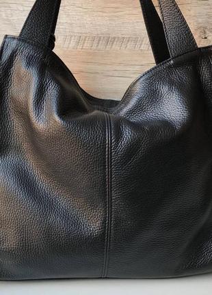 Женская кожаная сумка итальянская шопер жіноча жіноча шкіряна чорна велика3 фото
