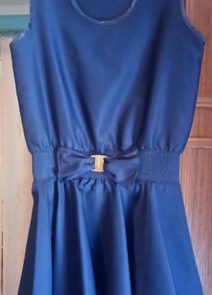Сарафан синий школьный, плюс подарок сарафан и юбка.