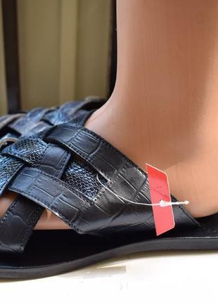 Кожаные итальянские шлепанцы шлепки сланцы тапки сандали