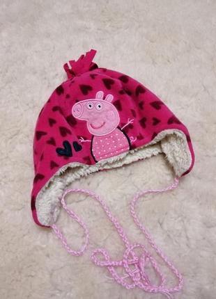 Демисезонная теплая шапочка peppa pig на 2-4 года