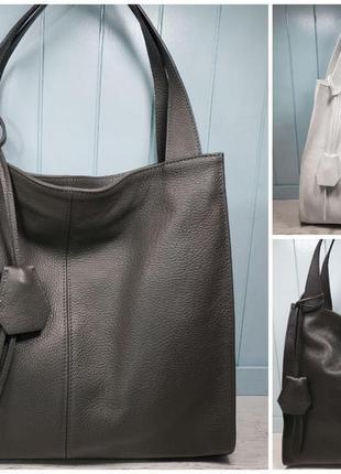 Женская кожаная сумка итальянская шопер жіноча жіноча шкіряна чорна велика5 фото