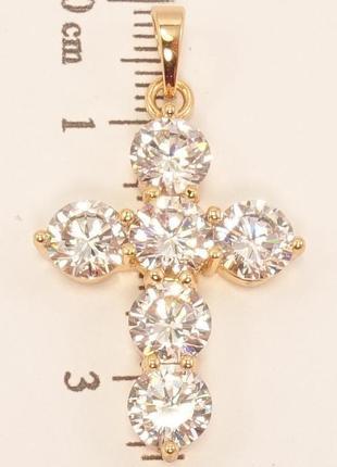 Крутой крестик с большими камнями, позолота 18к