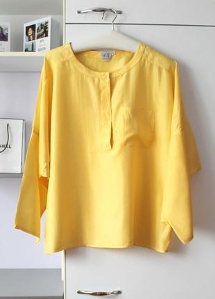Желтая шелковая рубашка от h&m, 100% шелк