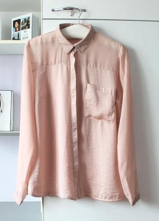 Нежно розовая рубашка с элементами кожзама от amisu