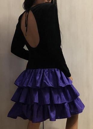 Винтаж нарядное бархатное платье с открытой спиной, віпускное платье, бальное платье