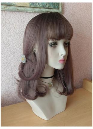 Новый парик в корейском стиле каре с чёлкой и пробором каштановый/розовый